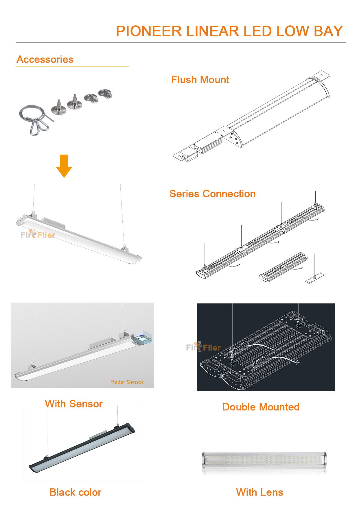 Pioneer led linear high bay Accessories