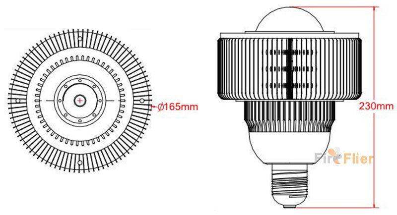 E40-100W-Led-high-bay-light-size