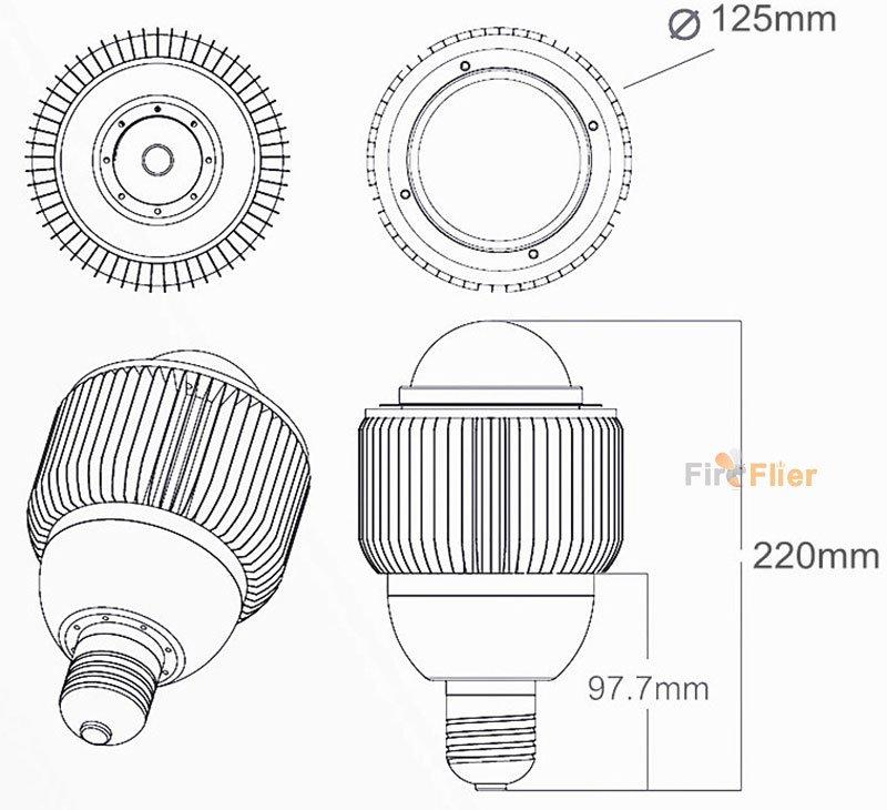 Dimensioni E40 LED High Bay 50W 80W