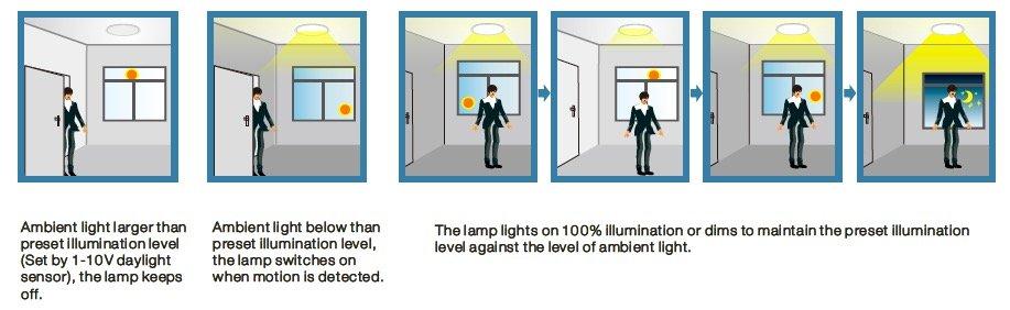 Daylight Harvesting System : How do dimming sensor of led high bay works fireflier