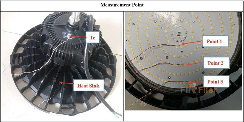 test di temperatura di ufo led high bay