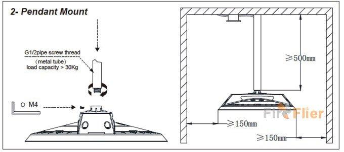ufo led high bay illuminazione installazione a sospensione