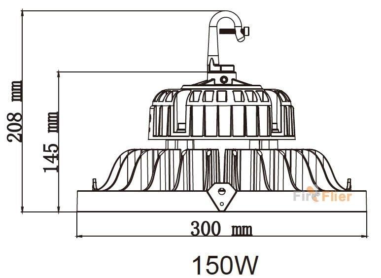 UFO LED High bay light 150w dimensioni gancio