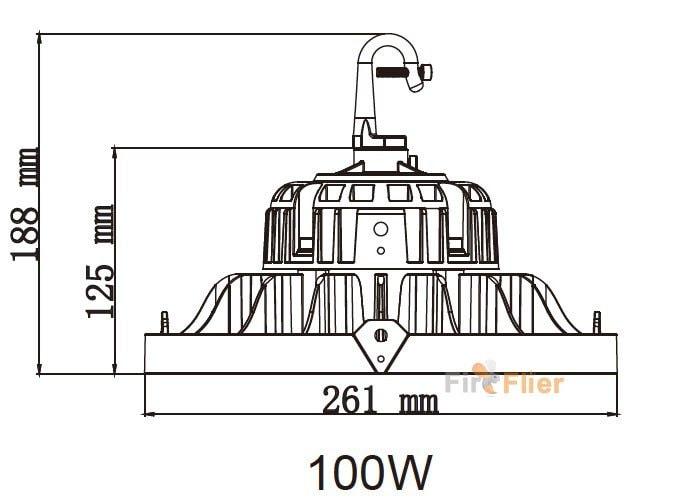 UFO LED High Bay Light 100W con gancio