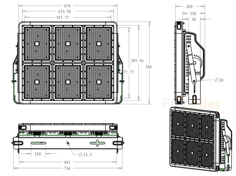 LED Stadium Light 1080W dimenzió