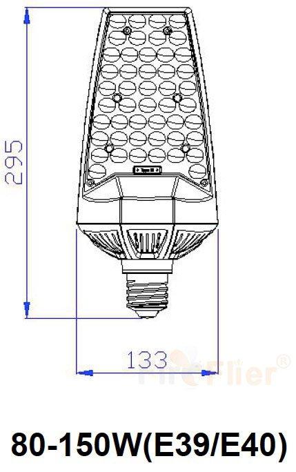 180° LED Retrofit Bulb 80W size