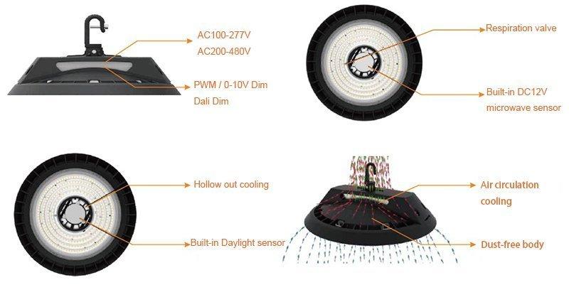 mahkota fitur UFO LED High Bay