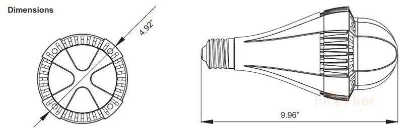 Dimenzió E39 E40 LED-es izzó 100W