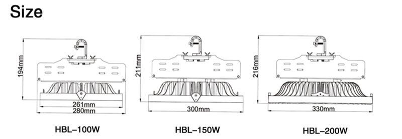 Dimensioni della luce del magazzino a LED
