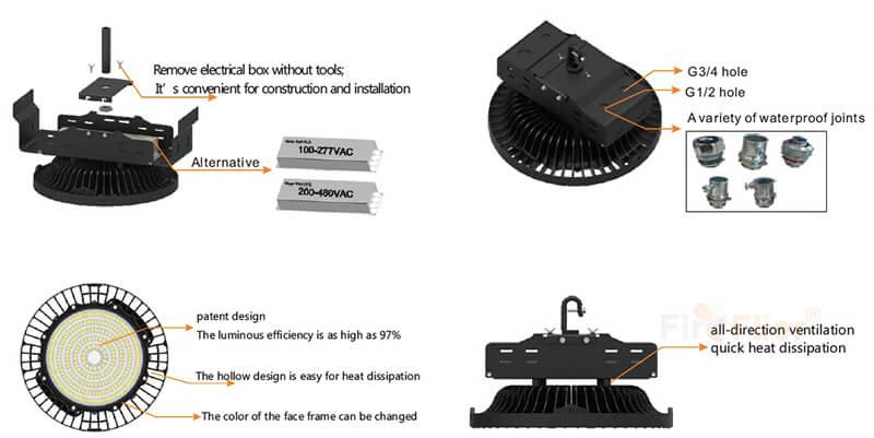 caratteristiche della luce del magazzino del LED