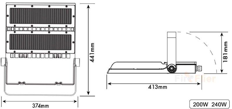 Az aszimmetrikus LED-es világítás dimenziója