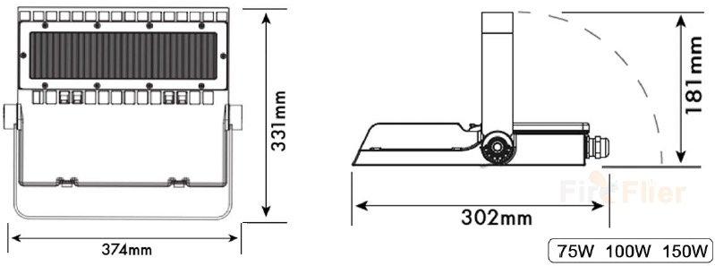 DIMENSIONE Area light LED asimmetrica 75w 100w 150w