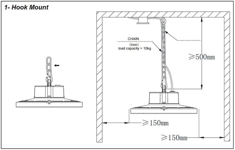 montaggio a gancio di 40W 60w LED High Bay Light