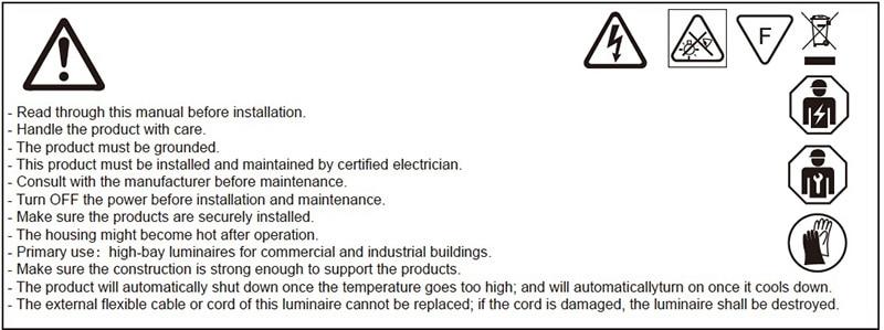 avviso di installazione della lampada a LED ad alta baia