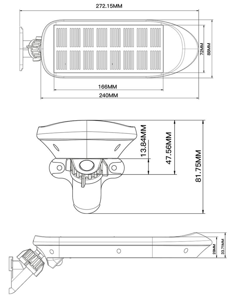 Dimensioni della lampada da parete a LED solare