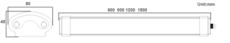 Dimensioni della luce LED Tri-proof