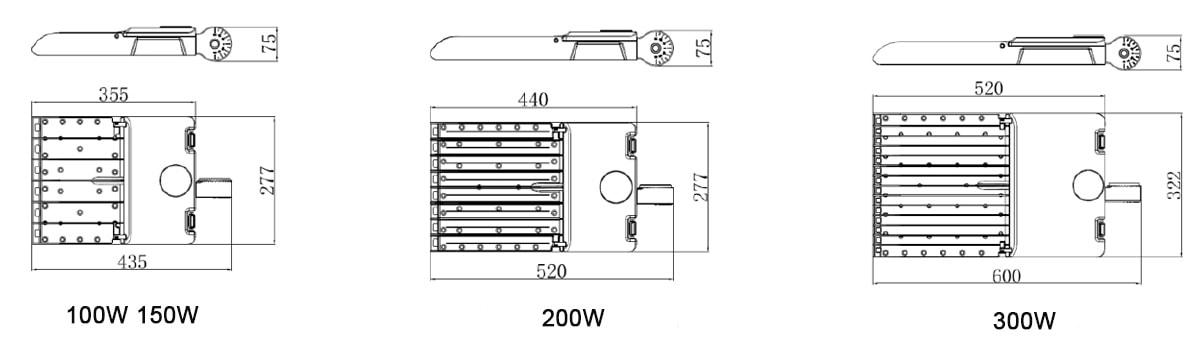 Dimensione della luce del parcheggio a LED