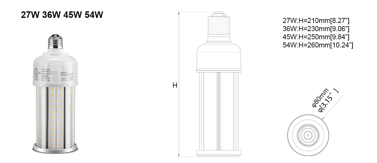 Lampadina LED Corn 27-54w