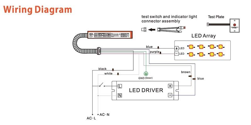 a vészhelyzeti biztonsági meghajtó kapcsolási rajza a panel világításához