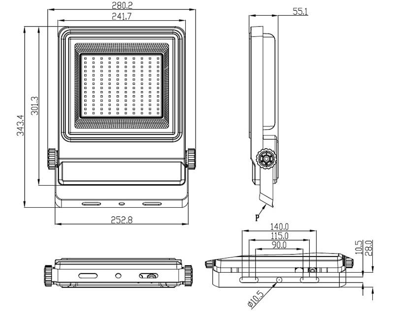 Dimensione della luce di inondazione a LED da 100W