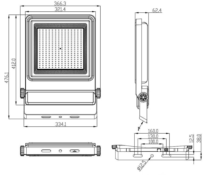 200W-os LED árvízlámpa mérete