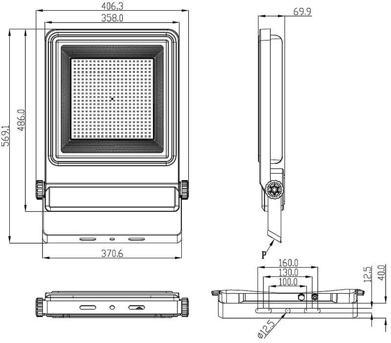 Dimensione della luce di inondazione LED da 300W