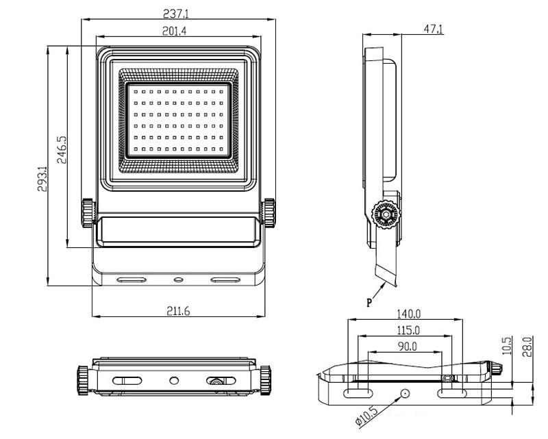 50W-os LED-es árvízlámpa mérete