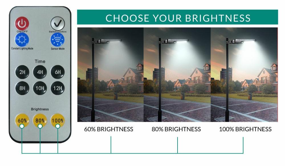 fényerő állítható távirányító szolár utcai fény